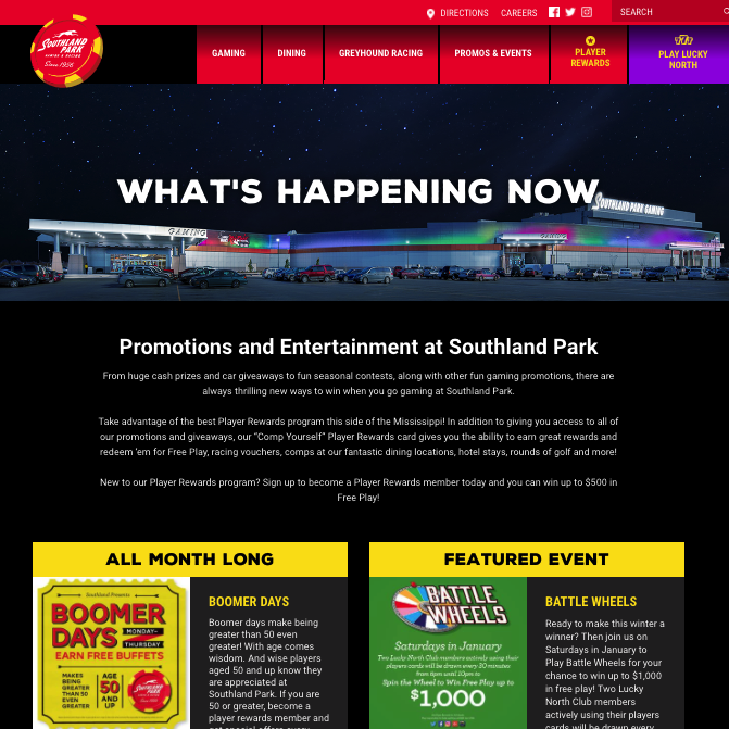 Screenshot of the Southland website event page