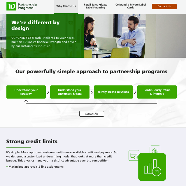 Screenshot of TD bank site homepage with navigation and banner